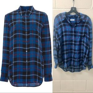 Equipment Silk Check Print Reese Button Down Shirt
